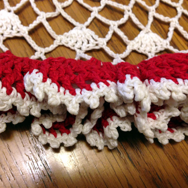 Vintage Crocheted Red and White Table Top Doily with Ruffled Edge - 2aEmporium