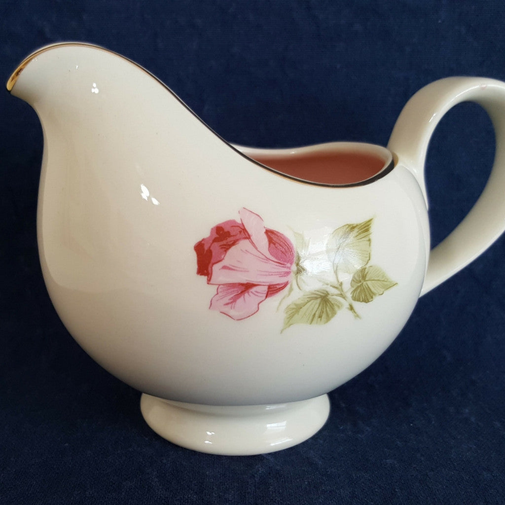 Vintage Off White Creamer With Single Pink Rose Accent and Pink Interior - 2aEmporium