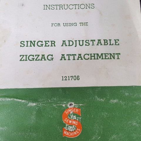 Singer Adjustable Zigzag Attachment Instruction Booklet  c. 1939