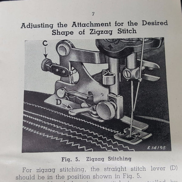 Singer Adjustable Zigzag Attachment Instruction Booklet  c. 1939 - 2aEmporium