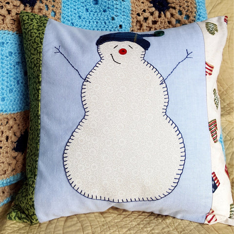 "Handmade Snowman Pillow Cover with Pillow Form, 14"" x 14"" Envelope Pillow Cover"
