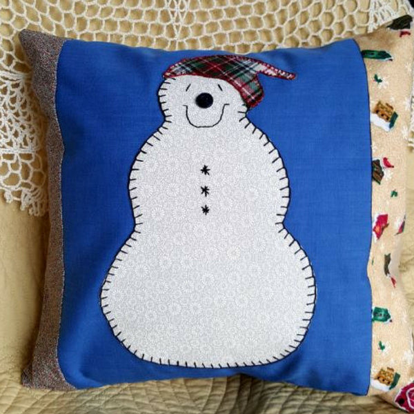 "Handmade Snowman Pillow Cover with Pillow Form, 14"" x 14"" Envelope Style Pillow Cover - 2aEmporium"