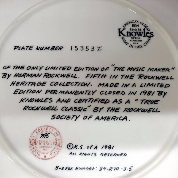 "Norman Rockwell Collectible Plate, ""The Music Maker""  c. 1981"