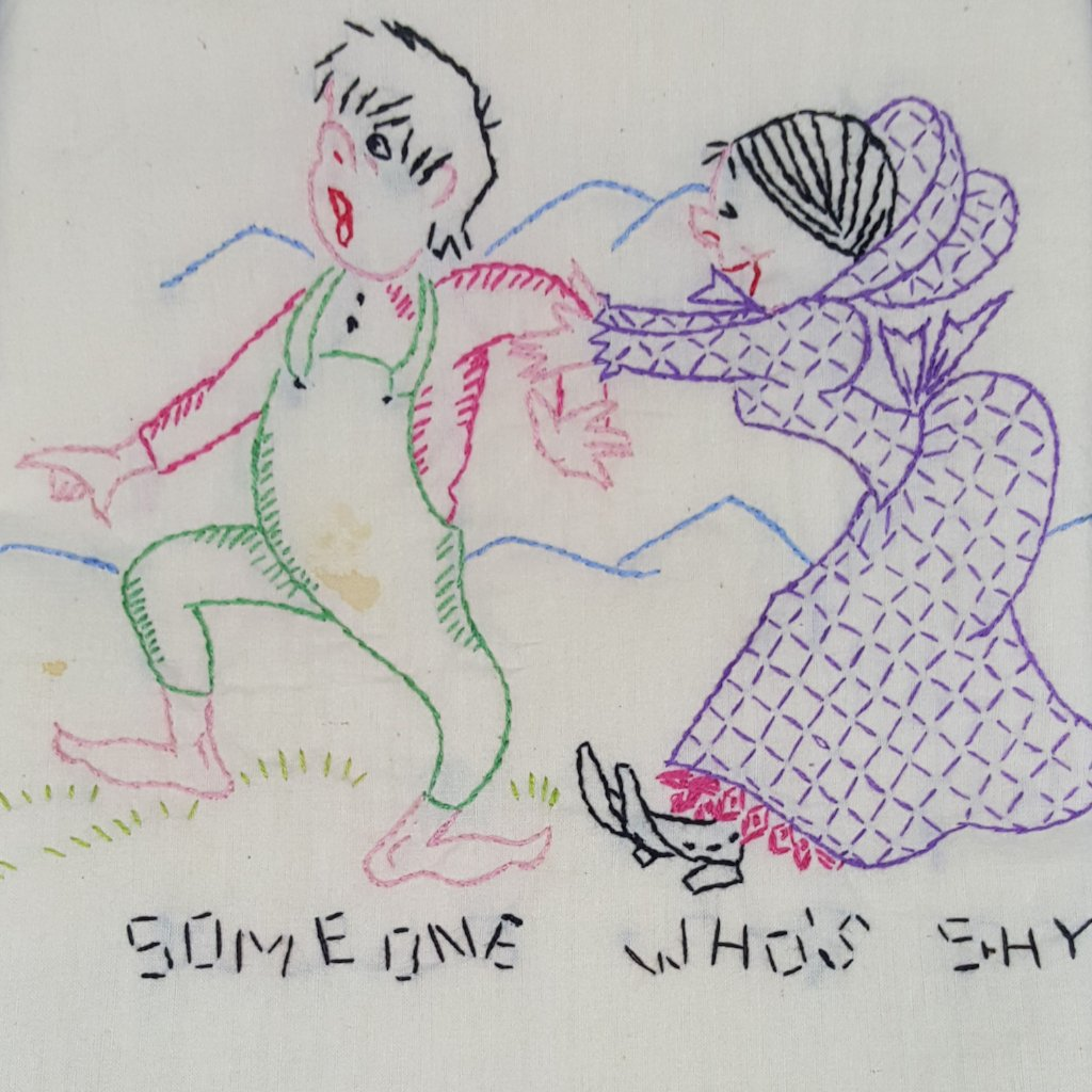 "Vintage Hand-Embroidered Tea Towel ""Someone Who's Shy"" - 2aEmporium"