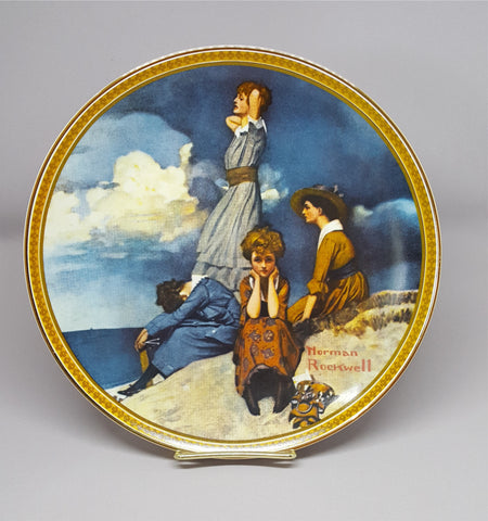 "Norman Rockwell Collectible Plate ""Waiting On The Shore"" - 2aEmporium"