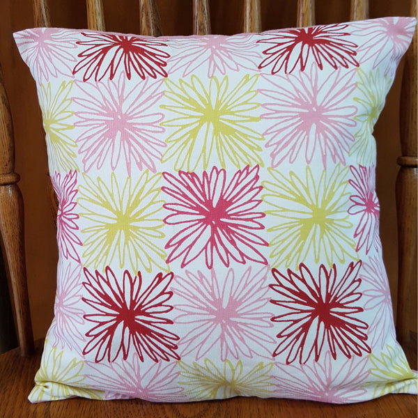 Re-purposed Handmade Pink and Yellow Envelope Pillow Cover with Pillow Form