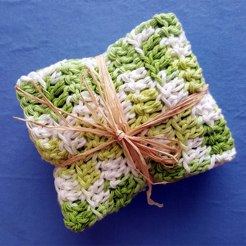 Set of 3 Hand Crocheted Dish Cloths, All Cotton Yarn