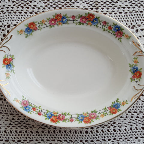 Oval Serving Dish, Floral Serving Bowl, Crown Potteries Company, Vintage 1950's, Replacement China, Gift Idea, Orange, Pink, Blue, Yellow - 2aEmporium