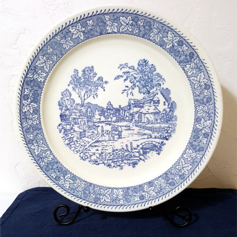 "Vintage Blue and White Platter, 12.5"" Large Round Platter - 2aEmporium"