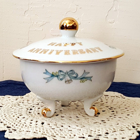 Lefton China Candy Dish, Hand Painted, Happy Anniversary, Footed Candy Dish with Lid, Anniversary Bells, Gold, Silver, Blue, Pink, White - 2aEmporium