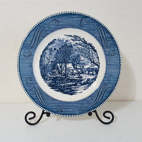Currier and Ives Dinner Plate, Vintage Dinner Plate, Blue & White Plate, The Old Grist Mill, Blue, White, Country, Farmhouse, Cottage, Gift - 2aEmporium