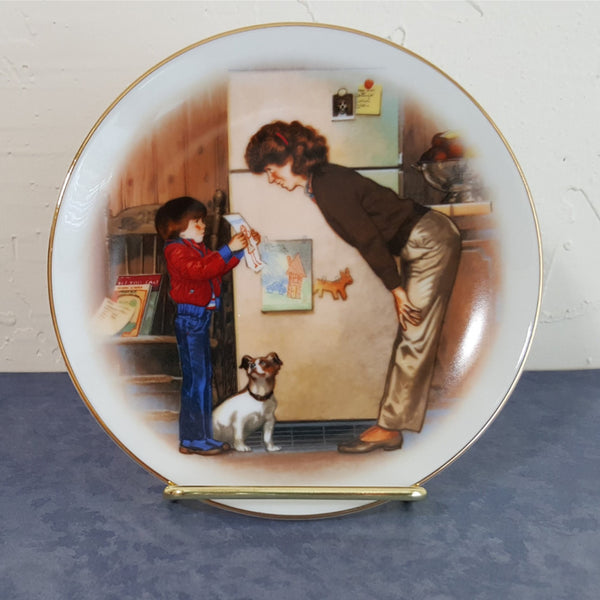 Mother's Day Plate 1985, Avon Plate, Vintage Mother's Day Plate, Special Memories, Porcelain, Child's Art Work, Little Boy, White, Brown, - 2aEmporium
