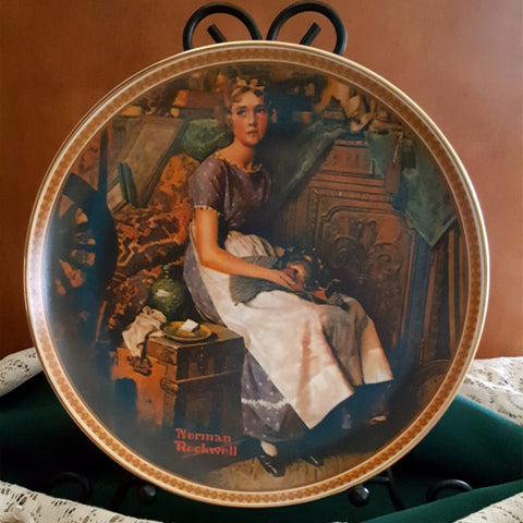 Norman Rockwell Collector Plate, Dreaming In The Attic, Rediscovered Women Collection, Limited Edition, 1980's, Knowles Fine China, - 2aEmporium