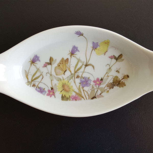 Floral Au Gratin Dishes, Set of 4 Earred Au Gratin Dishes, Nature Garden Society, Fine China by Enesco, Spring Flowers and Butterflies - 2aEmporium