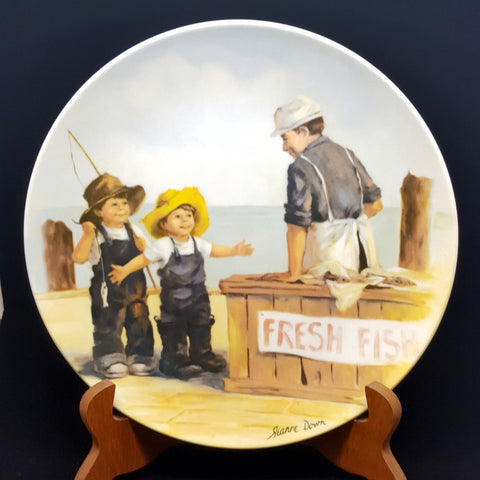 Collectible Plate, Fish Story by Jeanne Down, Friends I Remember Series, Fine China, Edwin M Knowles, Baby Shower Gift for Boy, Gift for Him - 2aEmporium