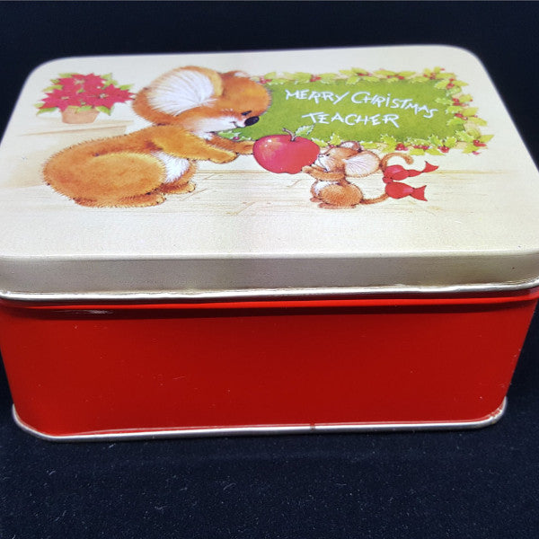 "Vintage Christmas Tin, ""Merry Christmas Teacher""  c. 1980 - 2aEmporium"