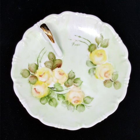 Limoges Porcelain Handled Candy Dish, Hand Painted Yellow Roses - 2aEmporium