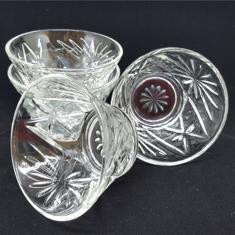 Vintage Cut Glass Bowls, Set of 4, Starburst Clear Cut Glass, Dessert Bowls, Fruit Bowls, Country Kitchen, Farmhouse Kitchen - 2aEmporium