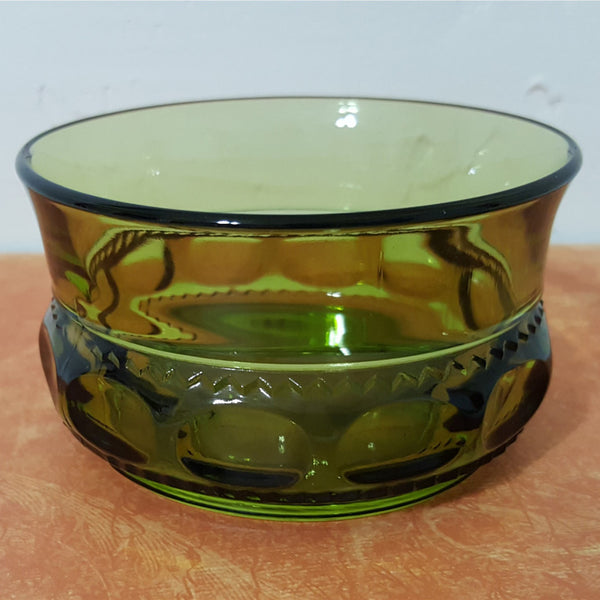 Vintage Green Thumb Print Glass Bowl - 2aEmporium