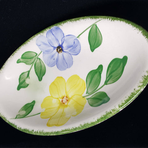 Vintage Oval Dish, Blue and Yellow Floral, Trinket Dish, Jewelry Dish, Cottage Decor, Country Decor, Gift Idea, Blue, Yellow, Green - 2aEmporium