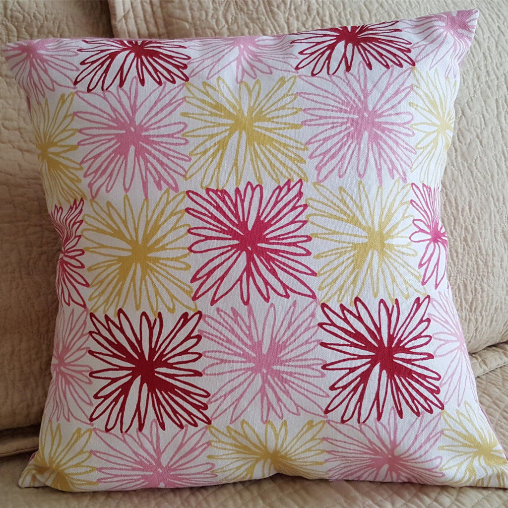 Re-purposed Handmade Pink and Yellow Envelope Pillow Cover with Pillow Form - 2aEmporium