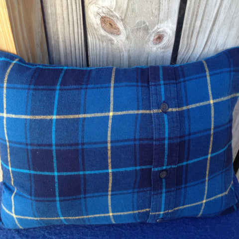 Flannel Pillow Cover, Blue Plaid, Re-purposed Flannel, Winter, Lodge, Country, Rustic, Yellow, Gift Idea, Christmas in July, CIJ - 2aEmporium
