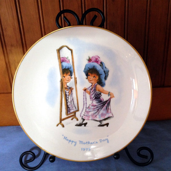 Vintage Mother's Day Plate 1975, Collectible, Gorham Fine China, Dress Up, Little Girl - 2aEmporium