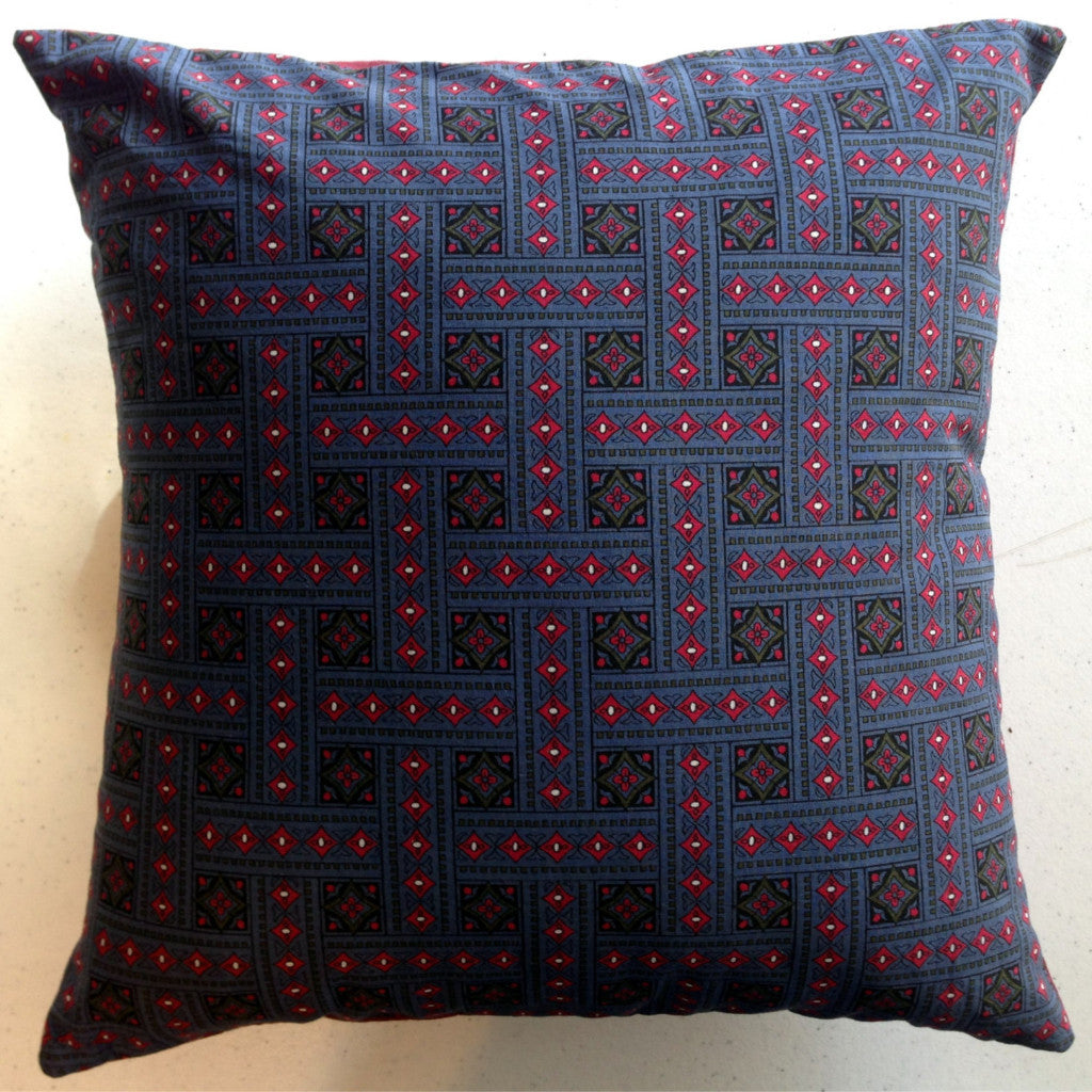 "Vintage-Made Blue Envelope Pillow Cover with Pillow Form, 14"" x 14"", Vintage Cotton Fabric - 2aEmporium"