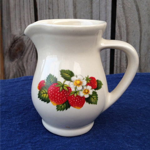 Strawberry Pottery Pitcher, Hyalyn Pottery, Vintage, Collectible, White, Red, Green, Country - 2aEmporium