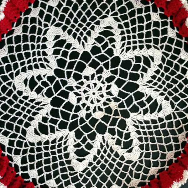Vintage Doily, Crocheted with Ruffled Edge, Table Top Doily, Elegant, Country Decor, Victorian Decor, Red, White, Gift Idea - 2aEmporium