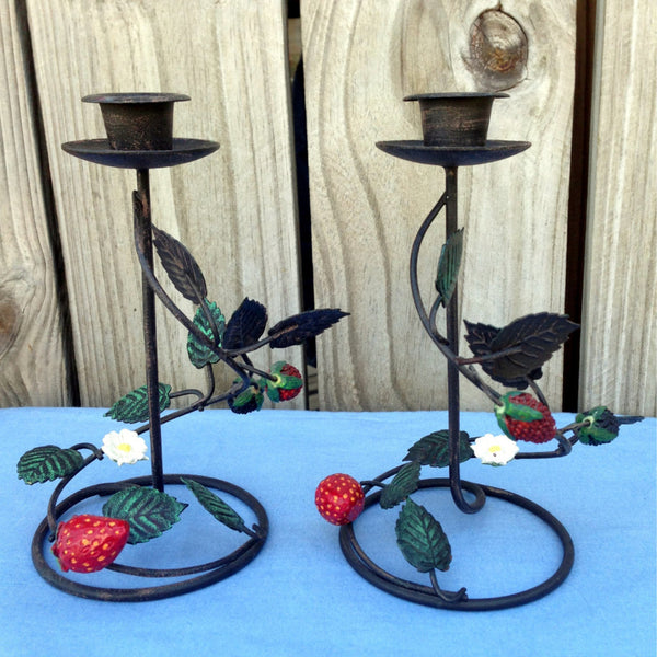 Two Strawberry Metal Candle Holders, Strawberry Tapered Candle Holders - 2aEmporium