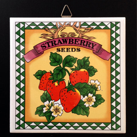 Strawberry Trivet, Vintage Wall Hanging, Country, Farmhouse Kitchen, Strawberry, Red, Yellow, Green - 2aEmporium