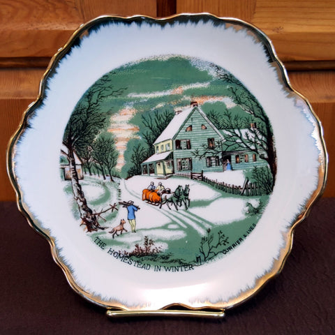 "Currier & Ives Collector Plate, The Homestead in Winter, 7"" Plate, Porcelain, Farm Scene, Green, Neutrals, Gold Trim, Christmas in July, CIJ - 2aEmporium"