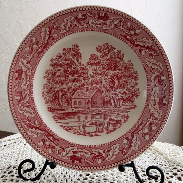 "Memory Lane Dinner Plate 10"", Royal Ironstone, Royal China Co, Made in USA, Red and White, 1966, Replacement China, Farmhouse, Homestead - 2aEmporium"