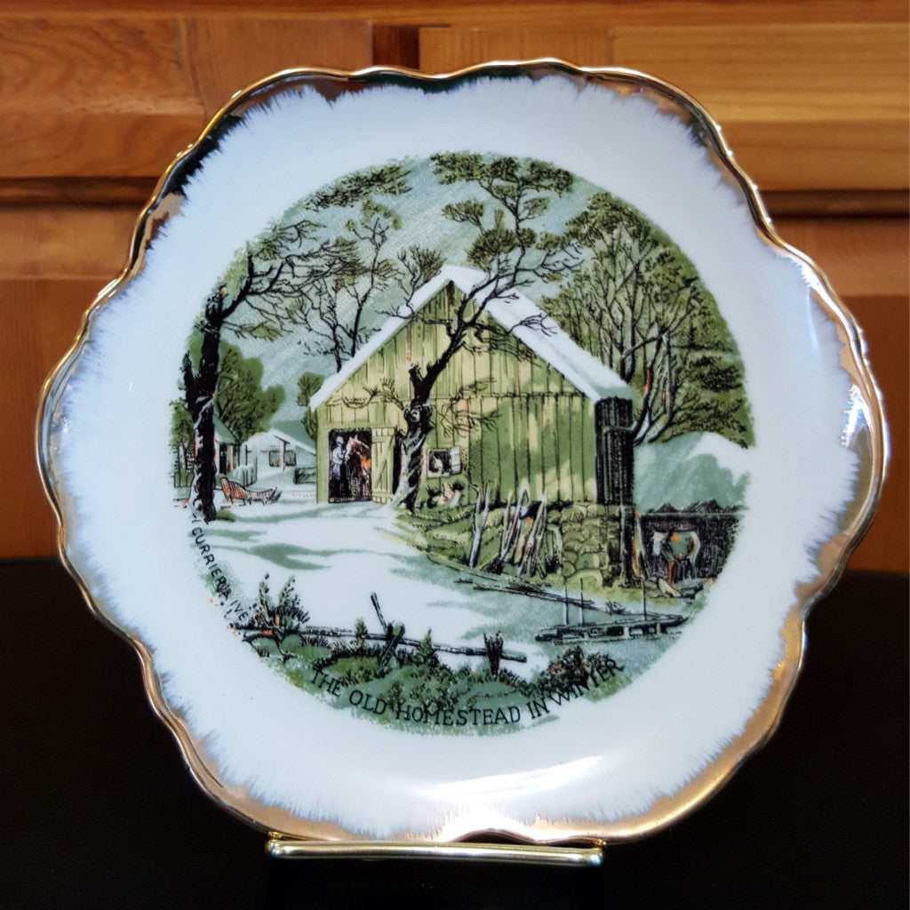 "Currier & Ives Collector Plate, The Old Homestead in Winter, 7"" Plate, Porcelain, Farm Scene, Neutrals, Gold Trim, Christmas in July, CIJ - 2aEmporium"