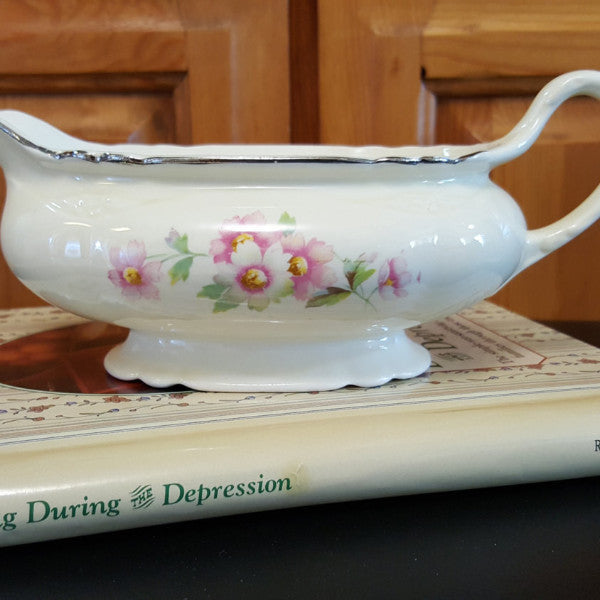 Gravy Boat, Homer Laughlin Virginia Rose, 1950's Collectible China, Floral, Off White, Pink, White, Yellow, Platinum Trim, Country - 2aEmporium
