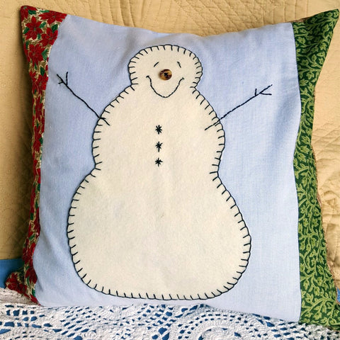 "Handmade Snowman Pillow Cover with Pillow Form, 14"" x 14"" Envelope Style Pillow Cover"