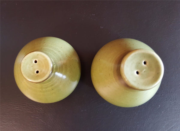 Vintage Green Salt and Pepper Shakers, California Strawberry by Metlox - Poppytrail  c. 1970s - 2aEmporium
