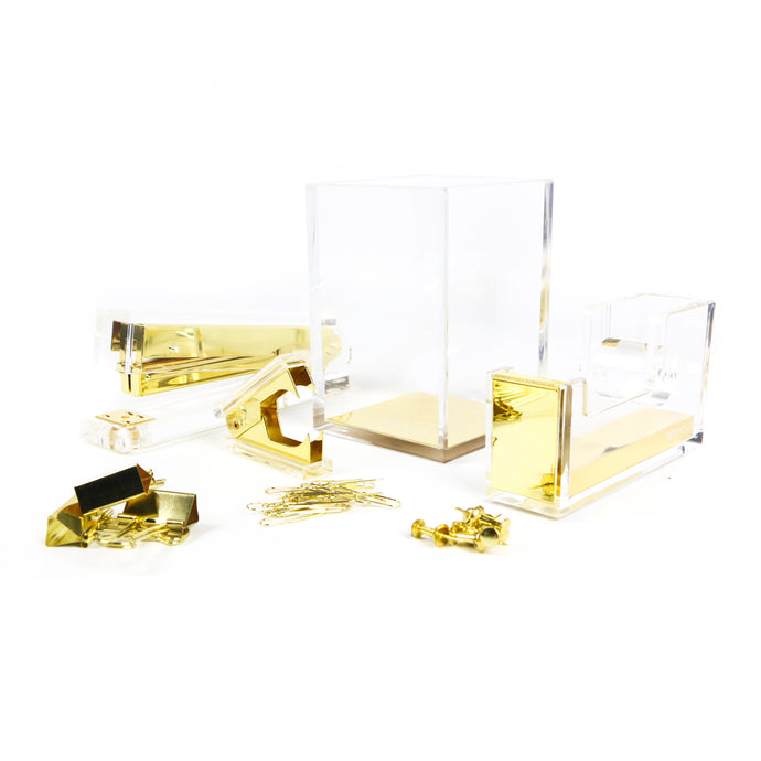 Gold Acrylic Stationery Set