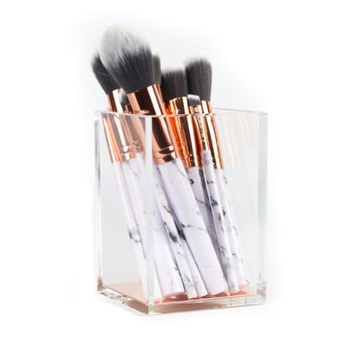Travel-Size Marble Makeup Brush Set + Brush Holder