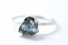blue raw crystal ring gemstone alternative bridal