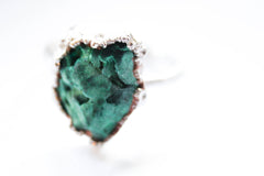 malachite green raw crystal ring alternative bridal jewelry non-traditional