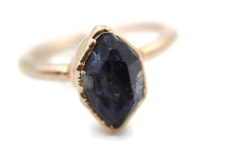 blue sapphire raw gemstone ring alternative engagement ring