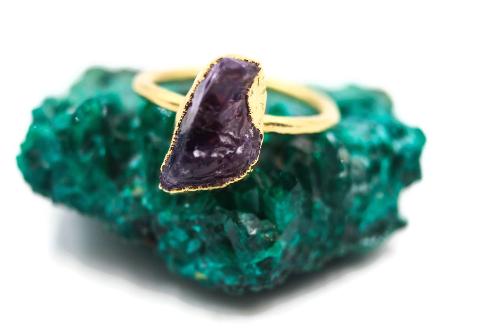 Amethyst, Yellow Gold, Electroformed, Solitaire
