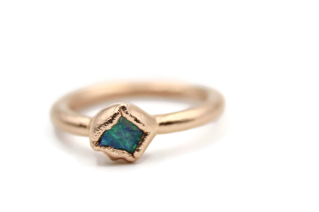 Raw Australian Opal Stacking Ring Engagement Ring by Fox & Stone Bohemian Crystals