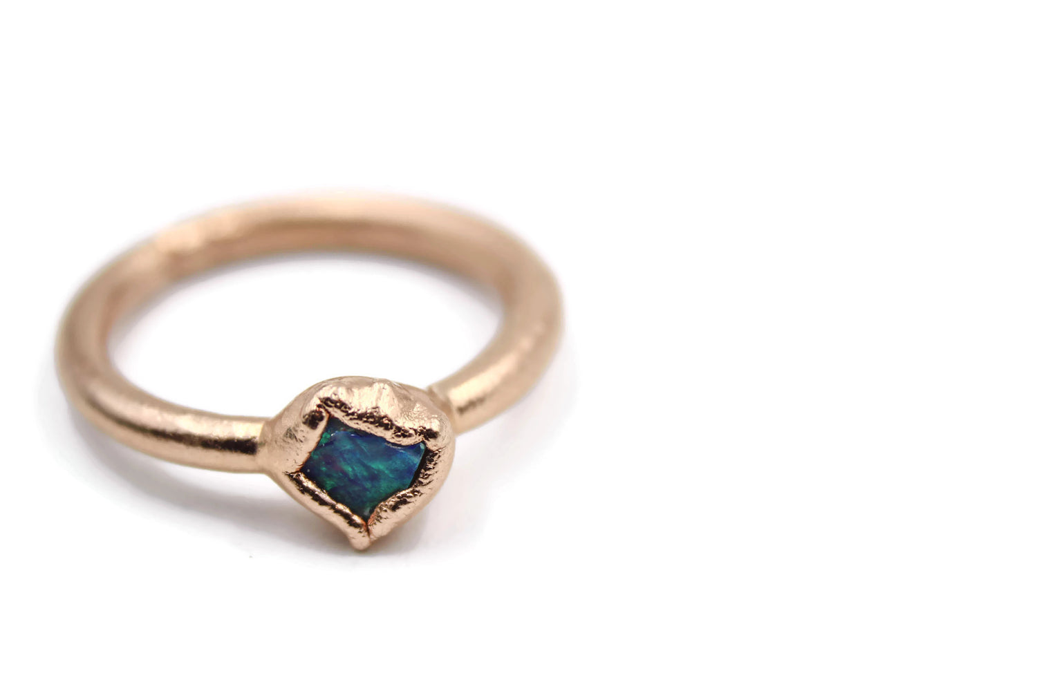 Rose Gold Raw Australian Opal Stacking Ring Engagement Ring by Fox & Stone Bohemian Crystals
