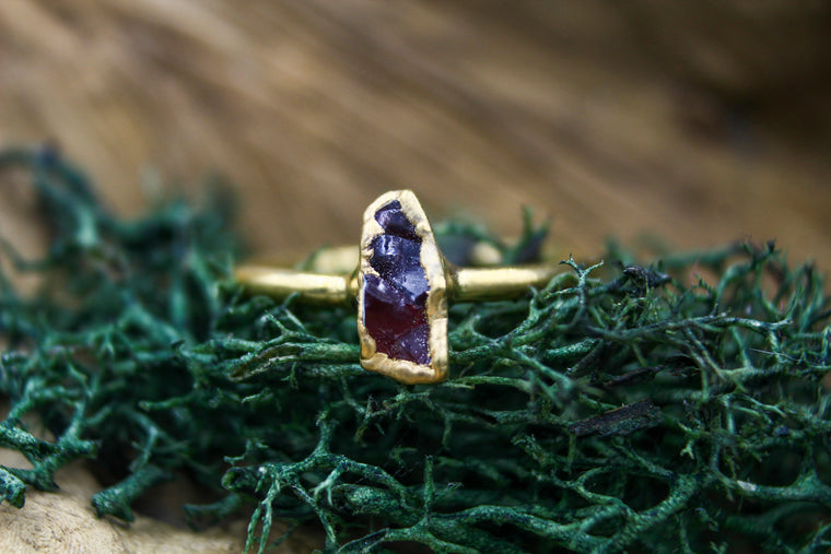 Amethyst Stacking Ring in Yellow Gold