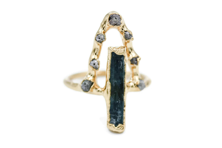 Aquamarine & Raw Diamond Statement Ring