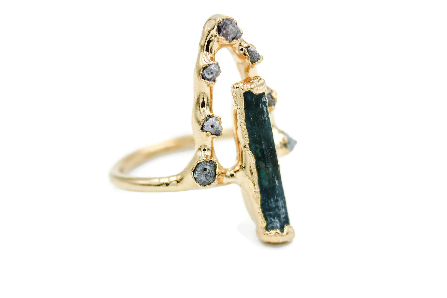 Aqumarine, Diamonds, Yellow Gold, Electroformed, Solitaire