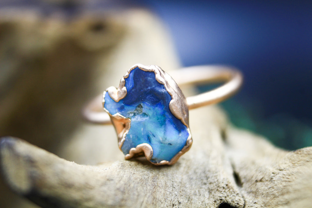 Australian Opal Engagement Ring in Rose Gold